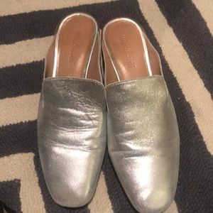 Madewell Size 10 Slip-On Silver Mules